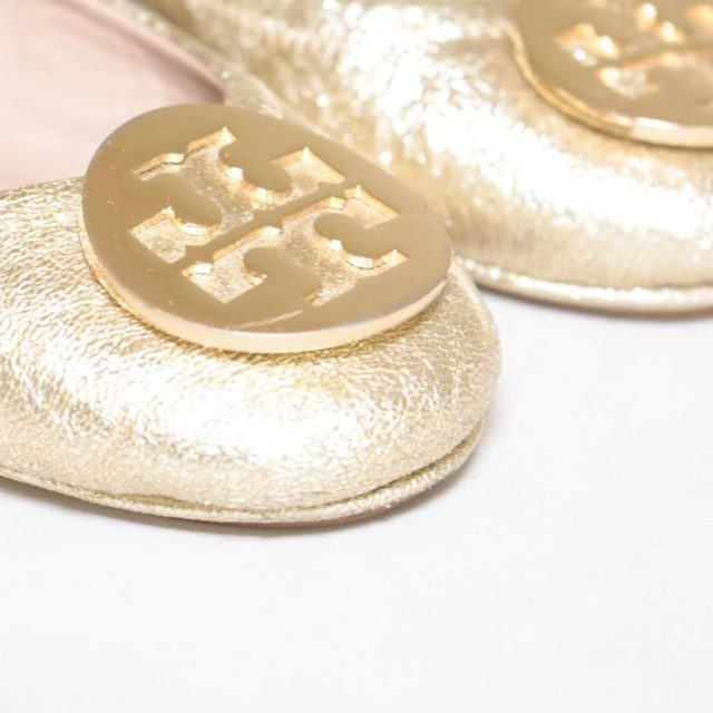 TORY BURCH Metallic Gold Ballerina Flats 6.5 US 36.5 EU 24876 d