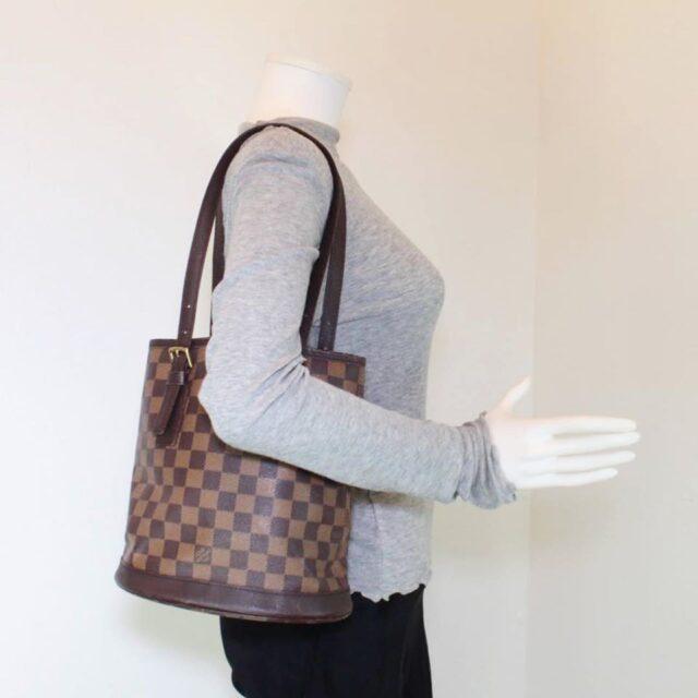 LOUIS VUITTON Damier Ebene Bucket Handbag 25401 j