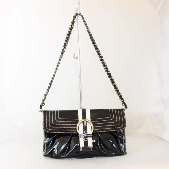 MOSCHINO Black Patent Leather Chain Shoulder Bag 23160 a
