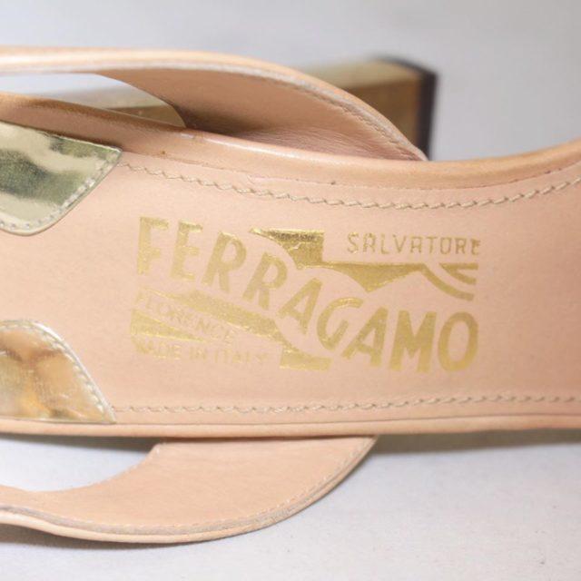 SALVATORE FERRAGAMO Nude Slingback Heels US 7 EU 37 25255 j