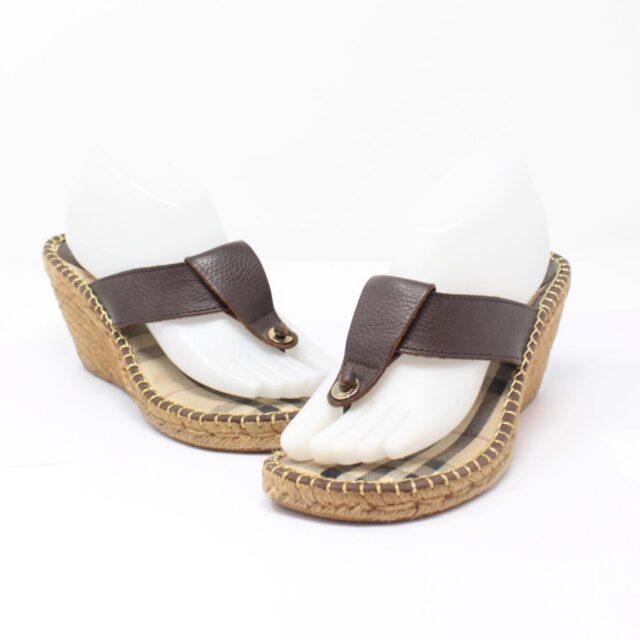 BURBERRY Brown Canvas Sandal Wedges US 10 EU 40 25635 a