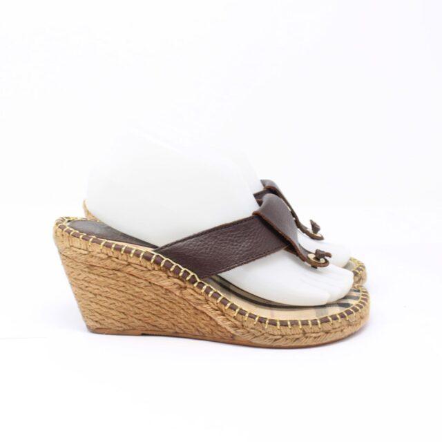 BURBERRY Brown Canvas Sandal Wedges US 10 EU 40 25635 c