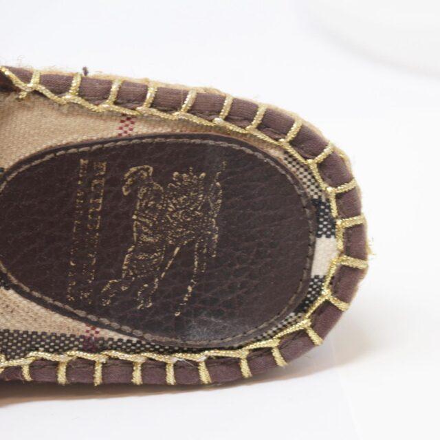 BURBERRY Brown Canvas Sandal Wedges US 10 EU 40 25635 f