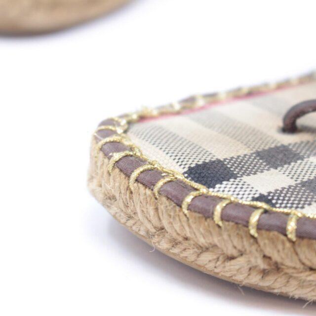 BURBERRY Brown Canvas Sandal Wedges US 10 EU 40 25635 g