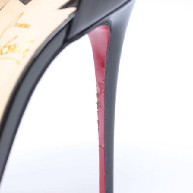CHRISTIAN LOUBOUTIN Phoebe 100 Black Patent Leather Open Toe Heels US 8 EU 38 25638 i