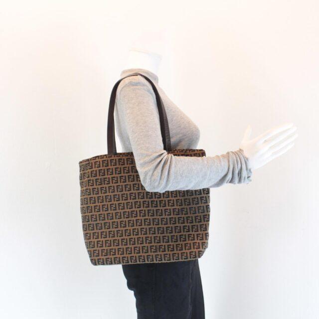 FENDI Brown Canvas Large Handbag 25889 i