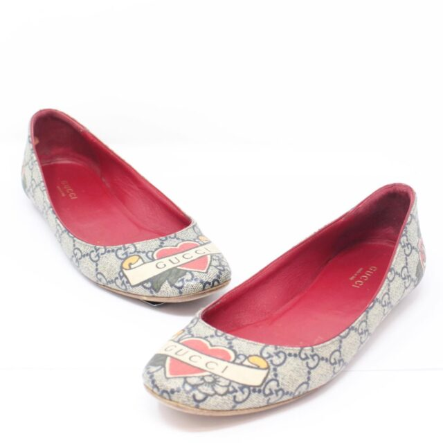 GUCCI Guccissima Grey Red Ballerina Flats US 8.5 EU 38.5 25634 a