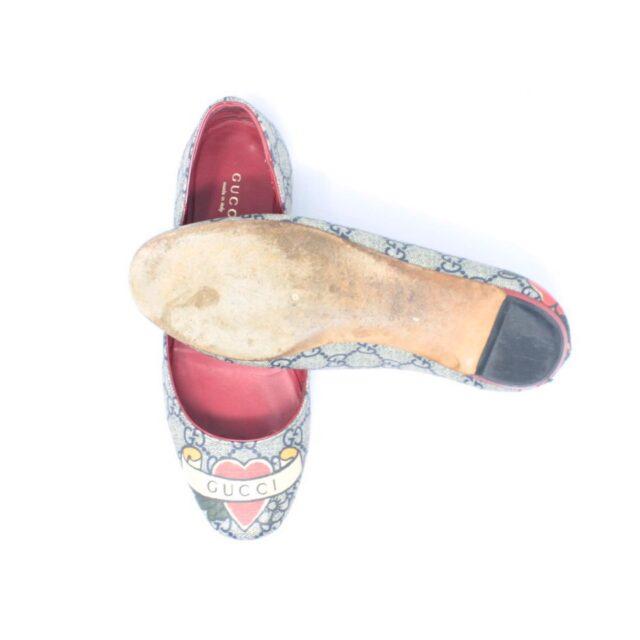 GUCCI Guccissima Grey Red Ballerina Flats US 8.5 EU 38.5 25634 b