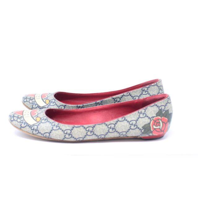 GUCCI Guccissima Grey Red Ballerina Flats US 8.5 EU 38.5 25634 e