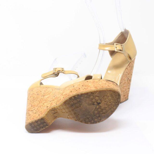 JIMMY CHOO Yellow Patent Leather Open Toe Wedges US 7 EU 37 25957 c
