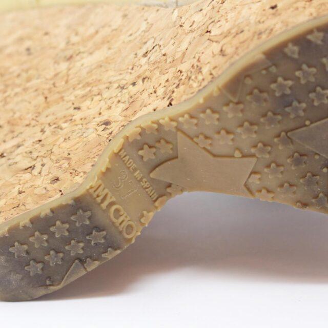 JIMMY CHOO Yellow Patent Leather Open Toe Wedges US 7 EU 37 25957 e