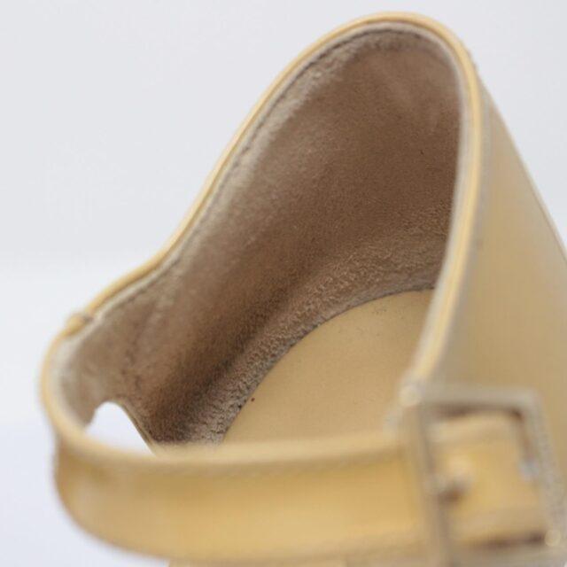 JIMMY CHOO Yellow Patent Leather Open Toe Wedges US 7 EU 37 25957 f