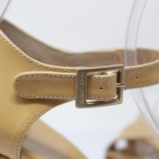 JIMMY CHOO Yellow Patent Leather Open Toe Wedges US 7 EU 37 25957 g