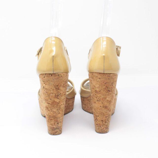 JIMMY CHOO Yellow Patent Leather Open Toe Wedges US 7 EU 37 25957 i