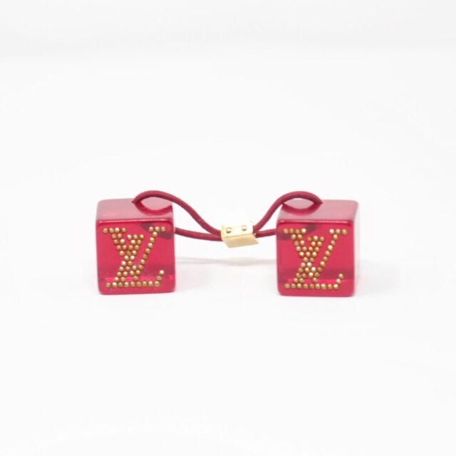 LOUIS VUITTON Red Cube Tie Hair Accesory 25681 a