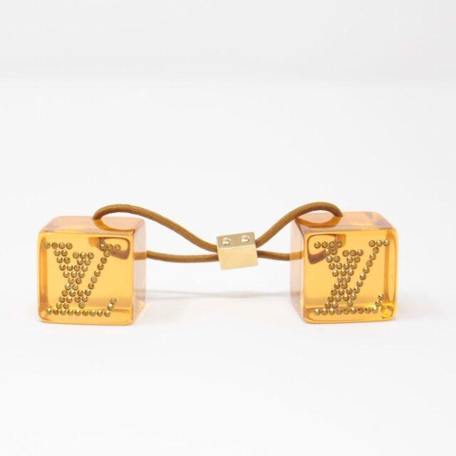 LOUIS VUITTON Yellow Cube Tie Hair Accesory 25682 a