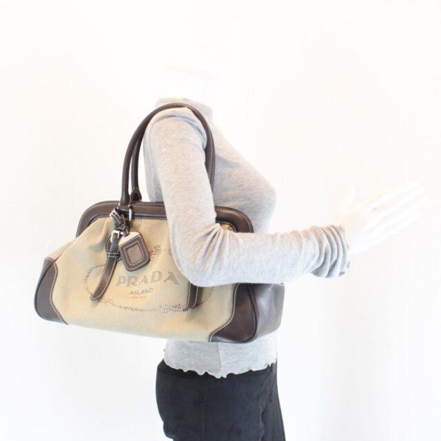 PRADA Tan Jacquard Satchel Handbag 25884 j