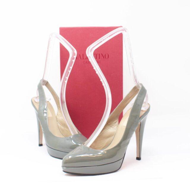 VALENTINO Gray Patent Leather Slingback Heels US 7 EU 37 10391 a
