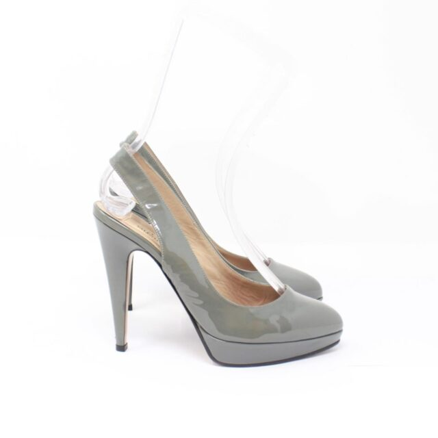 VALENTINO Gray Patent Leather Slingback Heels US 7 EU 37 10391 b
