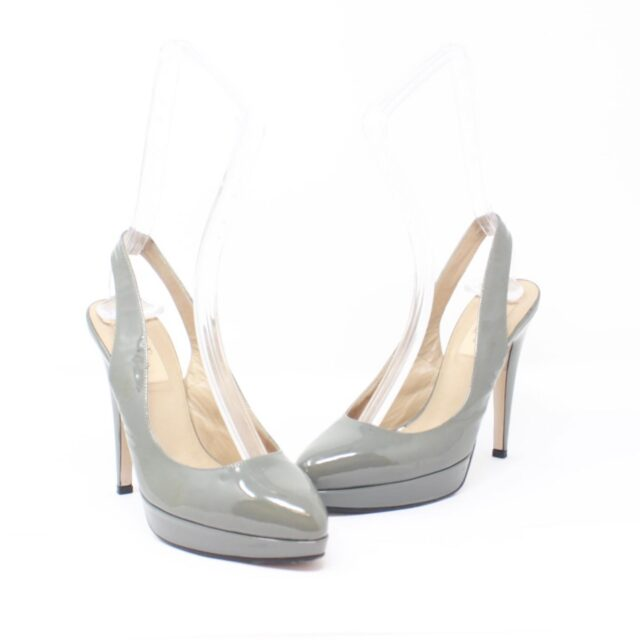 VALENTINO Gray Patent Leather Slingback Heels US 7 EU 37 10391 c