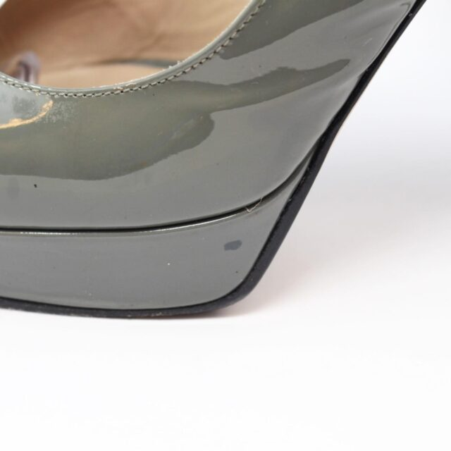 VALENTINO Gray Patent Leather Slingback Heels US 7 EU 37 10391 g