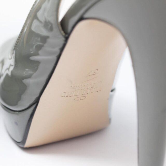 VALENTINO Gray Patent Leather Slingback Heels US 7 EU 37 10391 h