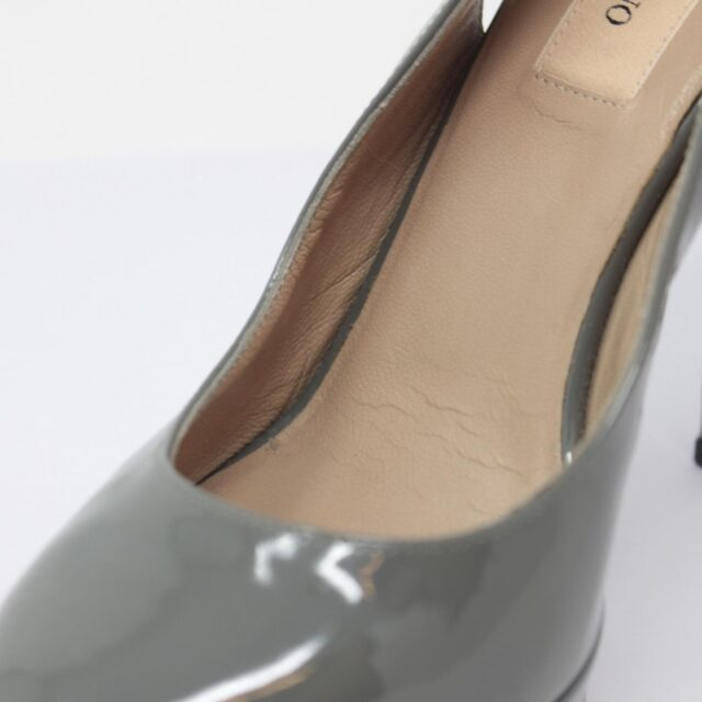 VALENTINO Gray Patent Leather Slingback Heels US 7 EU 37 10391 i