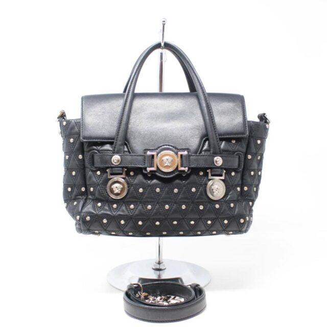 VERSACE Black Medusa Studded Handbag 25921 a