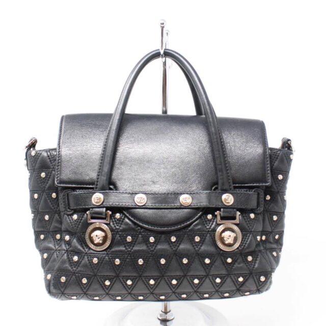 VERSACE Black Medusa Studded Handbag 25921 h