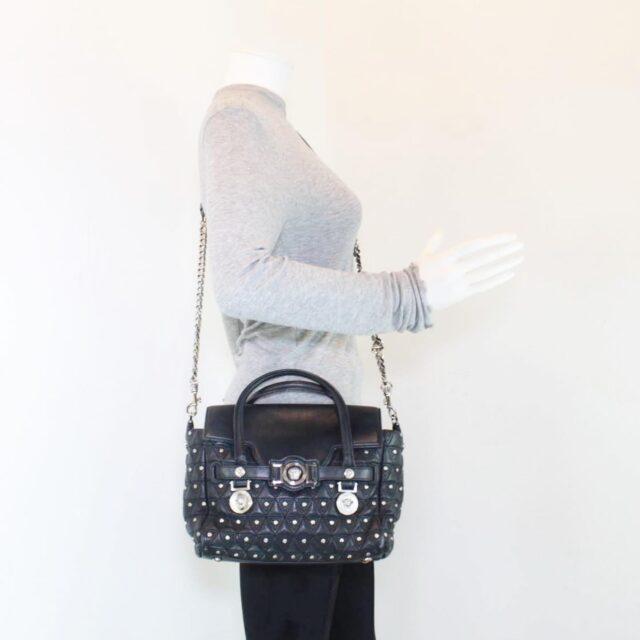 VERSACE Black Medusa Studded Handbag 25921 i