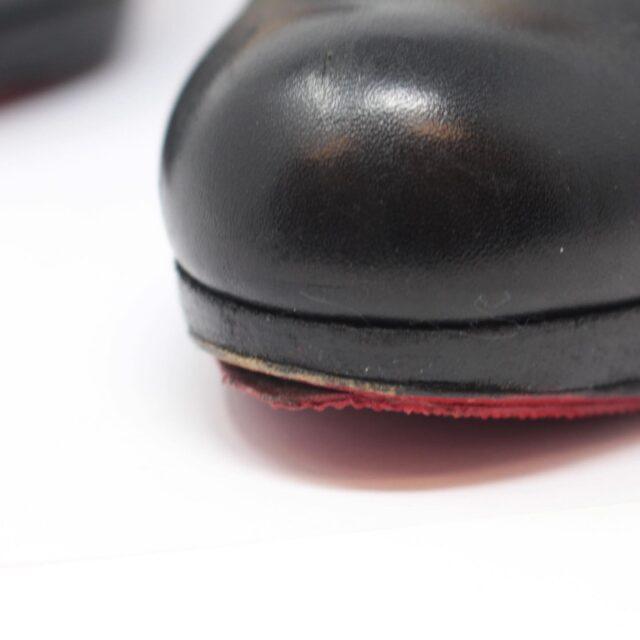 CHRISTIAN LOUBOUTIN Black Leather Closed Toe Pumps US 7 EU 37 26122 f