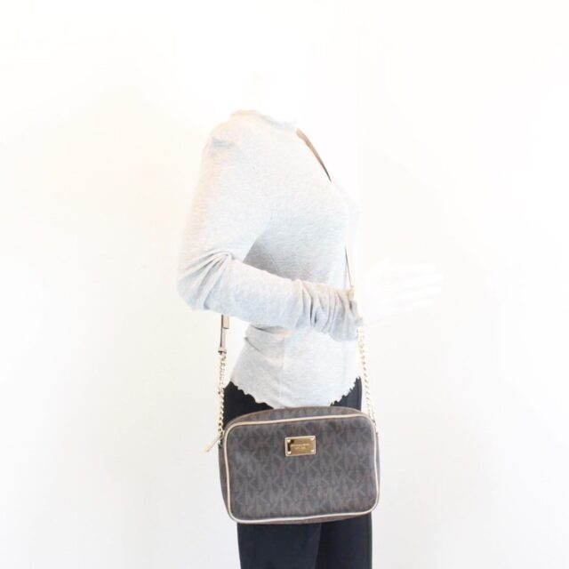 MICHAEL KORS Brown Canvas Crossbody Bag 26228 g