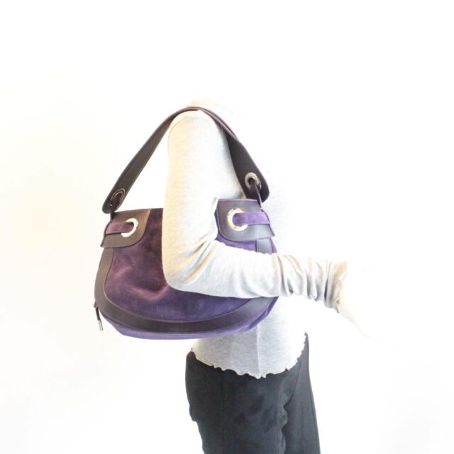 BALLY Purple Suede Handbag 27214 j