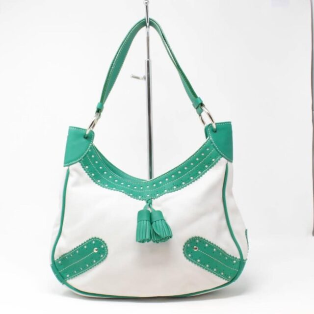 BURBERRY White Green Leather Shoulder Bag 26798 A