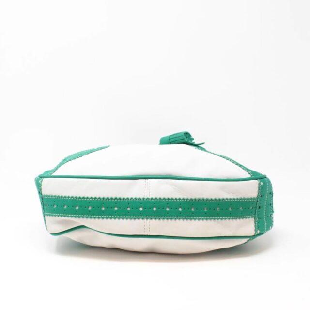 BURBERRY White Green Leather Shoulder Bag 26798 d