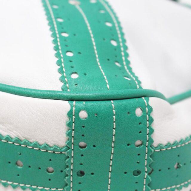 BURBERRY White Green Leather Shoulder Bag 26798 e