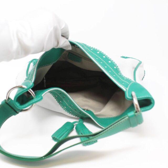 BURBERRY White Green Leather Shoulder Bag 26798 g