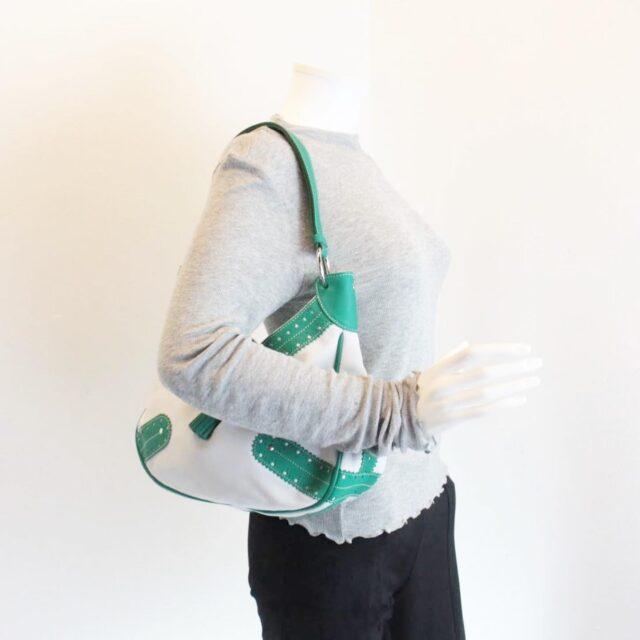 BURBERRY White Green Leather Shoulder Bag 26798 i