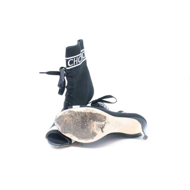 CAROLINA HERRERA Black Sock Ankle Open Toe Boots US 7 EU 37 TMP 001 g