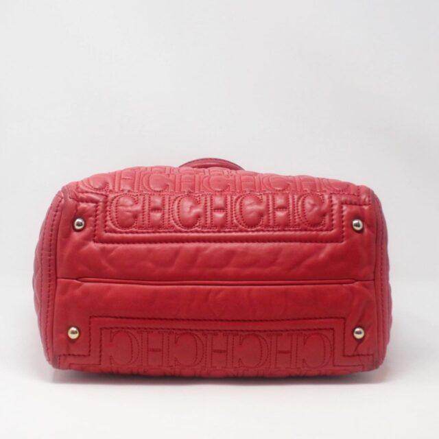 CAROLINA HERRERA Red Leather Logo Tote 27294 e