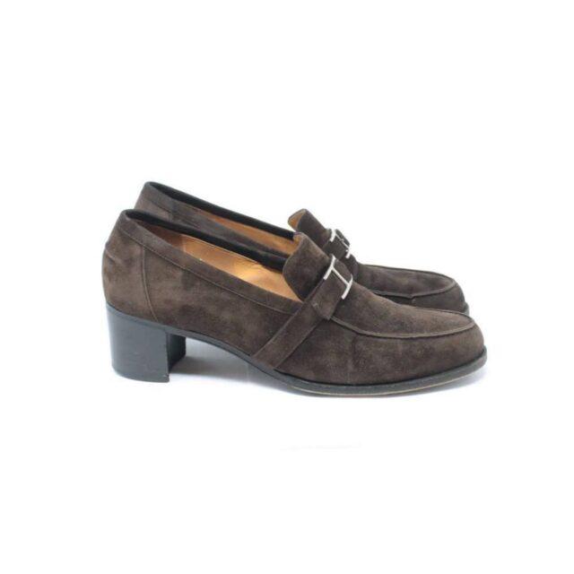 HERMES Brown Suede Loafers US 8.5 EU 38.5 26845 b