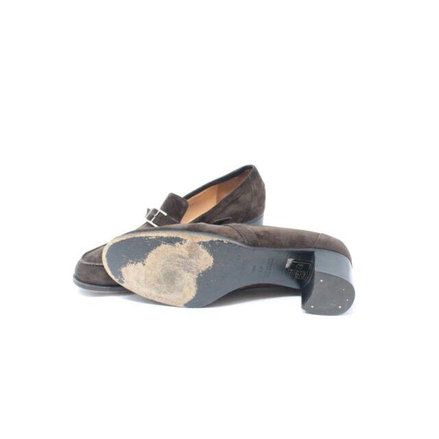 HERMES Brown Suede Loafers US 8.5 EU 38.5 26845 d