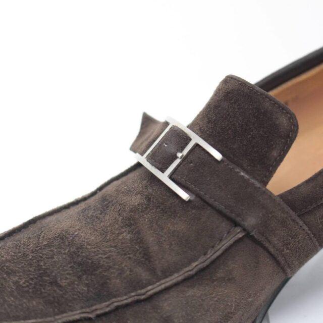 HERMES Brown Suede Loafers US 8.5 EU 38.5 26845 h