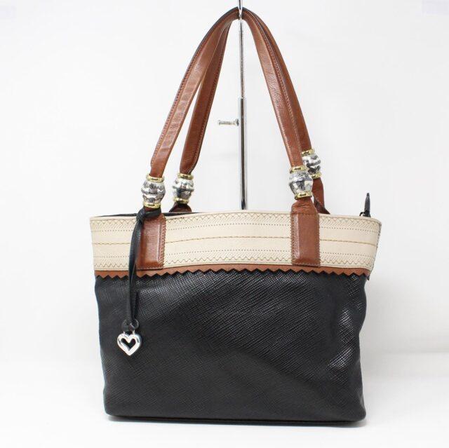 BRIGHTON Black White Leather Handbag 27950 1
