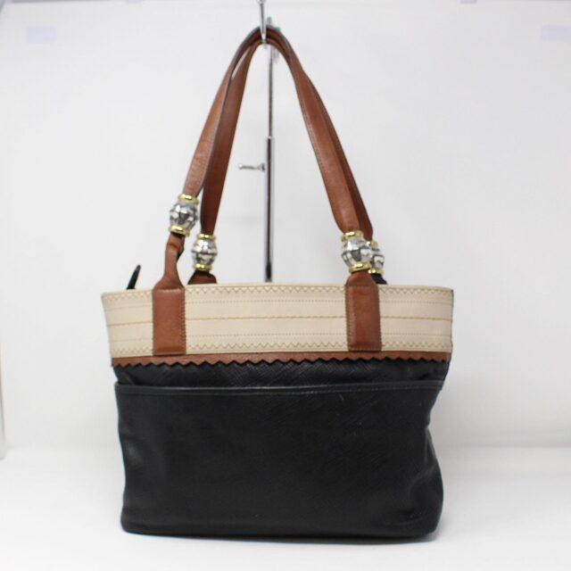 BRIGHTON Black White Leather Handbag 27950 2
