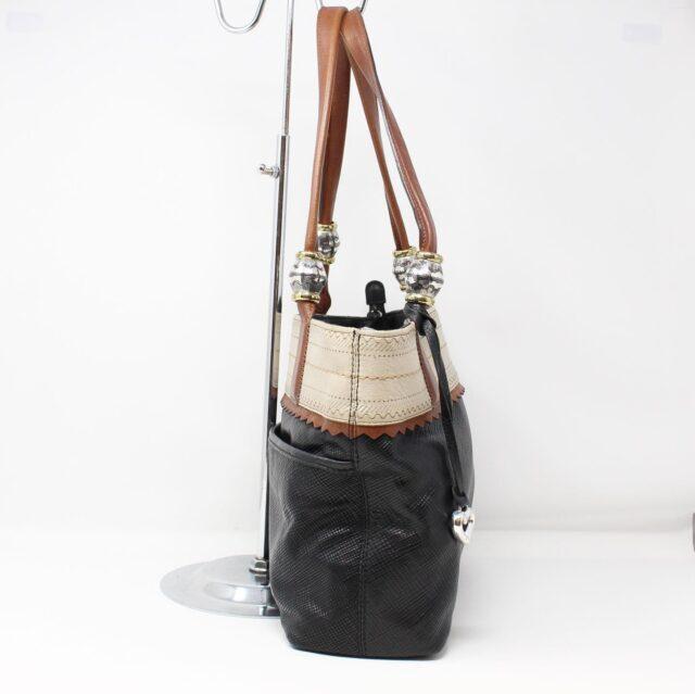 BRIGHTON Black White Leather Handbag 27950 3