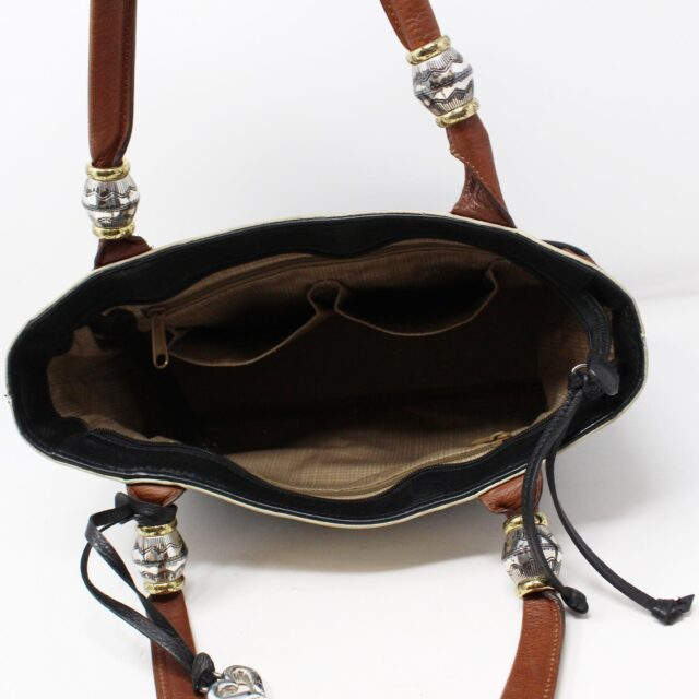 BRIGHTON Black White Leather Handbag 27950 5