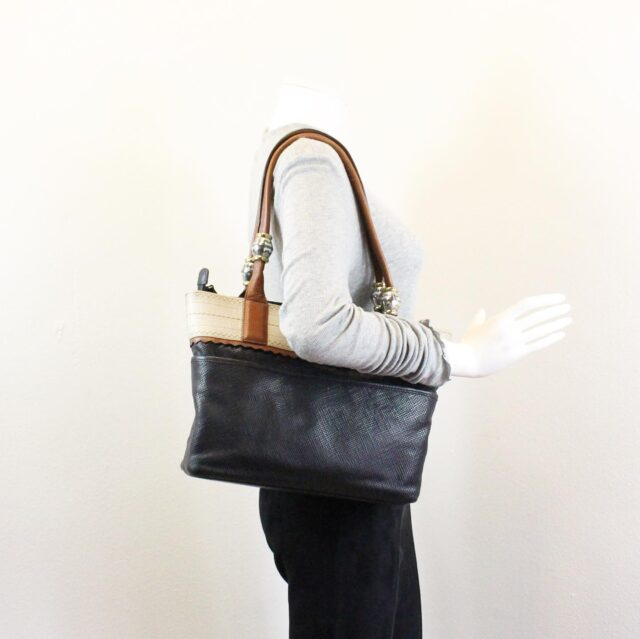BRIGHTON Black White Leather Handbag 27950 7