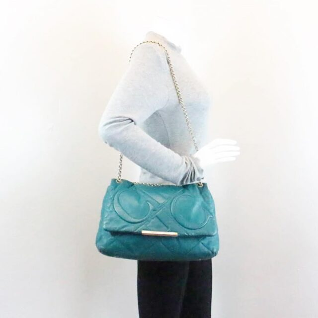 CAROLINA HERRERA Green Leather Handbag 27433 h