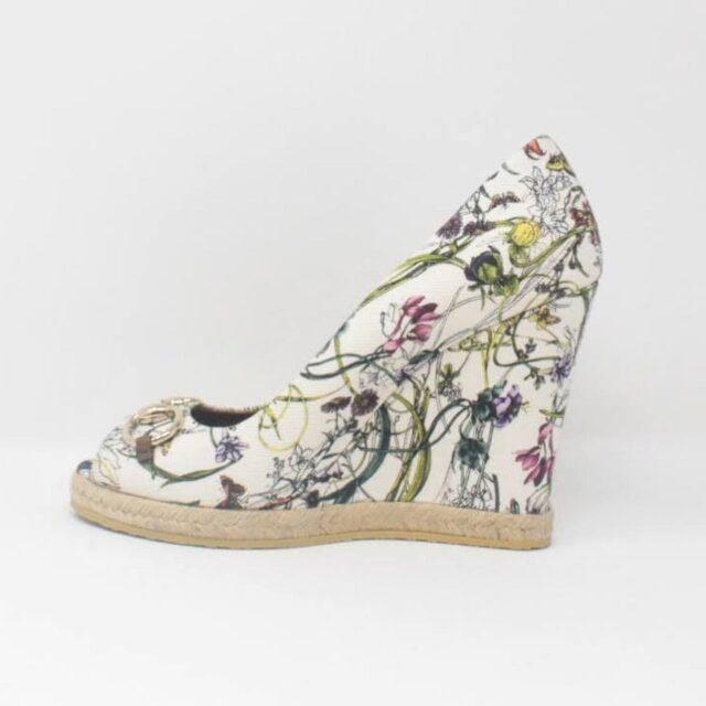GUCCI White Floral Heels US 10 EU 40 27345 d